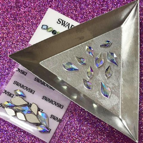 Mixed Pack of 10pc Swarovski Flatback Flame Crystals, Non-Hotfix, Size 7.5mm/10mm, Crystal AB